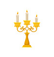 golden candelabrum with three burning candles vector image