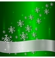 Green Plate with Snowflakes and White Ribbon vector image