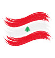 grunge brush stroke with national flag of lebanon vector image vector image