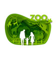 happy family visiting zoo park paper cut vector image vector image