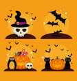 happy halloween celebration set icons vector image