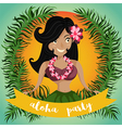 hawaiian hula dancing girl vector image