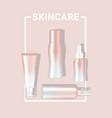 mock up realistic rosegold pastel skincare bottle vector image