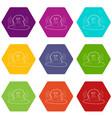 monkey bathe icons set 9 vector image