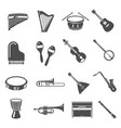 musical instruments bold black silhouette icons vector image