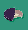 paper sticker on stylish background pie chart vector image vector image