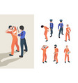 police and prisoners isometric federal jail vector image vector image