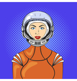 pop art beautiful young woman in astronaut helmet vector image vector image