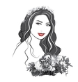 Portrait of a girl with flowers - vector image