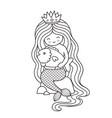 princess mermaid with big fish sitting on a rock vector image vector image