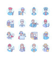 professions - modern colorful line design style vector image