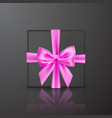 realistic black gift box with pink bow and ribbon vector image vector image