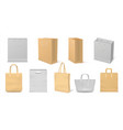realistic fabric bag reusable cardboard and vector image vector image