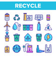 recycle garbage sorting linear icons set vector image