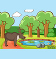 scene with deer in forest vector image vector image