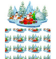 seamless background design with santa in northpole vector image vector image