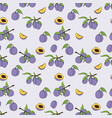 seamless pattern of plum in cartoon style vector image