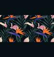 seamless pattern tropical plants bird paradise vector image vector image