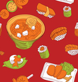 seamless pattern with japan food - vector image