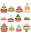 set colorful birthday cakes vector image vector image