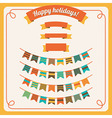 set of bunting and garland in retro colors with ba