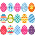 set of fifteen colorful easter eggs icons vector image