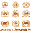 set of vintage farmer emblems with tractors vector image