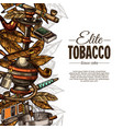 sketch posters with tobacco and smoking collection vector image vector image
