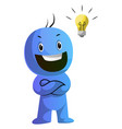 smiling blue caracter with a lightbulb on white vector image vector image