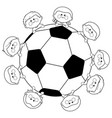 soccer ball and children team vector image
