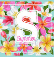 summertime floral poster tropical pink plumeria vector image vector image