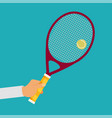 tennis player racket hit the ball vector image vector image
