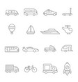 transport symbols linear of various vector image