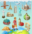 travel tourist attraction 3d icon set on vector image vector image
