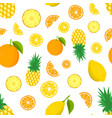 tropic fruit pattern color background with lemon vector image