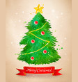 vintage postcard with christmas tree vector image