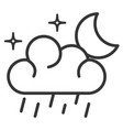 weather cloud rainy with moon vector image