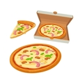 Whole pizza seafood in open white box and slice vector image vector image