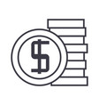 coins sign line icon sign on vector image