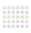 Light Media Stop and Play Buttons with Neon Icons vector image