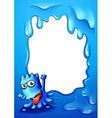 A border design with a cheerful blue monster vector image vector image