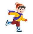 a boy is running with his ice skating vector image