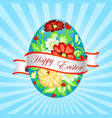 a greeting card for easter with a painted egg vector image