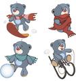 A set of stuffed bear toys cartoon vector image