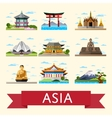 asian travel set with famous attractions vector image