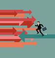 businessman running in reverse trend vector image vector image