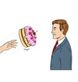 cake is thrown in face pop art vector image vector image