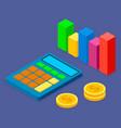 calculator bar chart and stack dollar coins vector image
