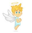 cartoon cute happy christmas angel vector image vector image