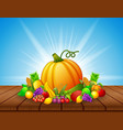 cartoon fruits and vegetables on wooden table vector image